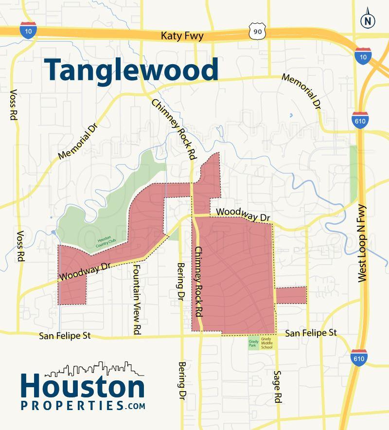 Houston Apartments Map: Tanglewood Houston Neighborhood Map.
