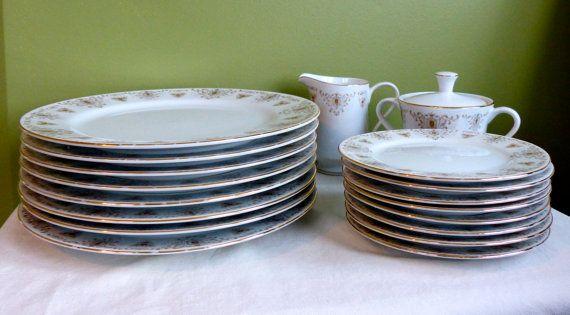 Fine China Verde Japan Set Of 7 Dinner Plates Gold By Meghas124 Dinnerware Sets Fine China Dinner Plates