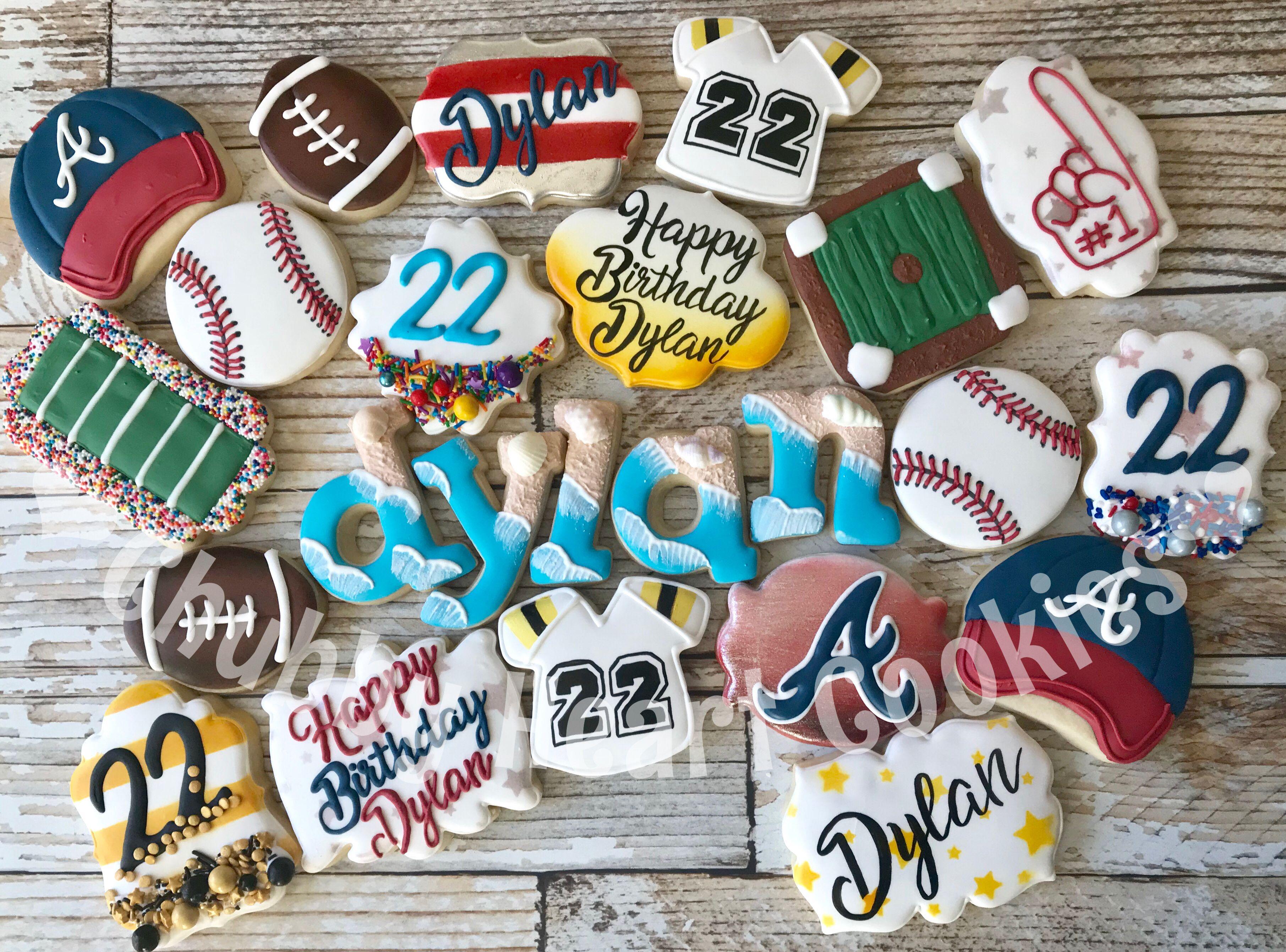 Beach Baseball Football Atlanta Braves Birthday Cookies Heart Cookies Yummy Cookies