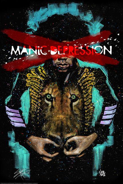 """""""Jimi Manic Depression"""" SF134 Poster Size 24X36  getdownart.com #Jimi #JimiHendrix #ManicDepression #stephenfishwick #getdownart #poster"""