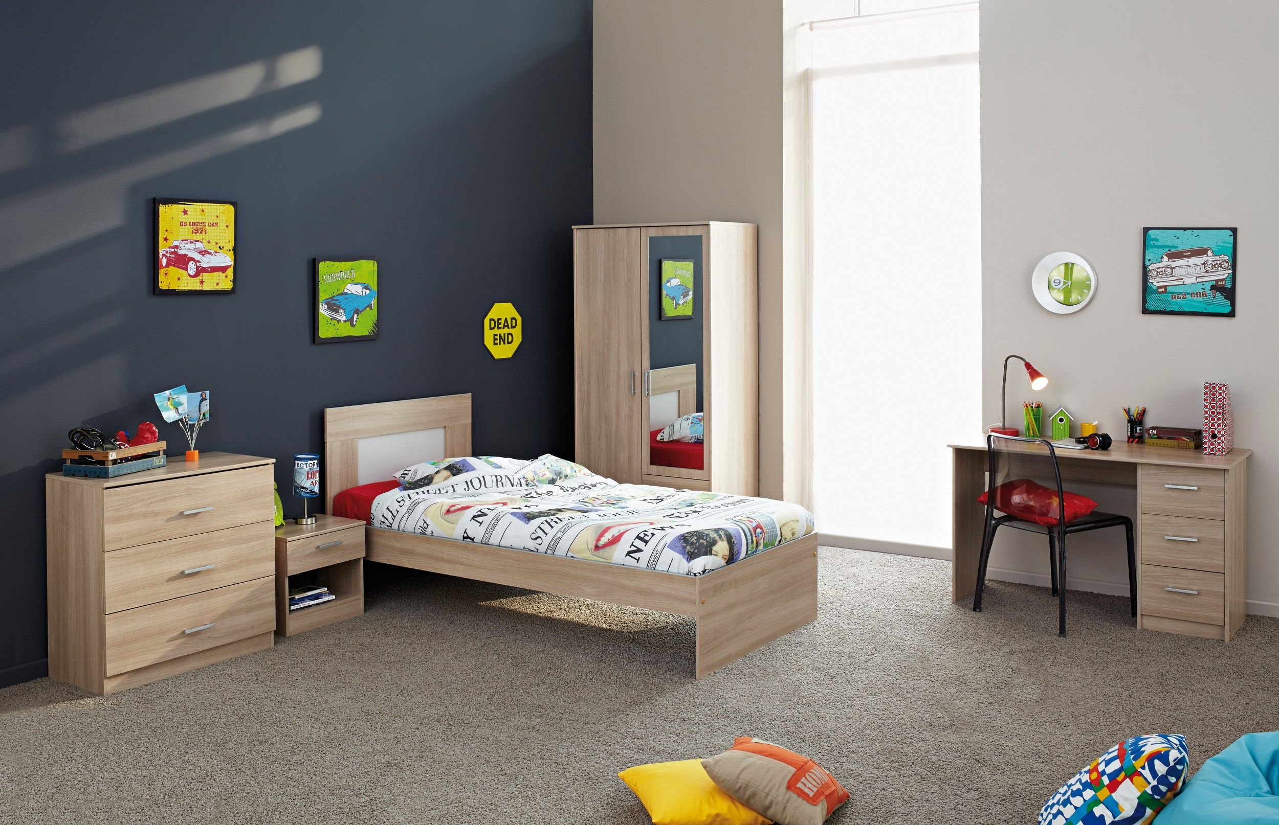 Chambre complète enfant en bois Bruge et gris Eden. Nouveauté ...