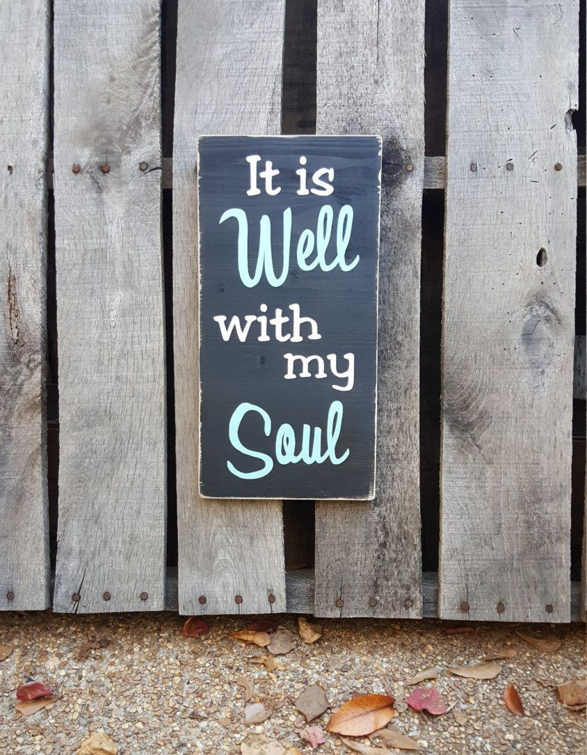 It is Well with my Soul wood sign, handpainted sign, wooden sign, distressed sign, praise art, worship sign, wall art by PurplePaisleyPalace on Etsy