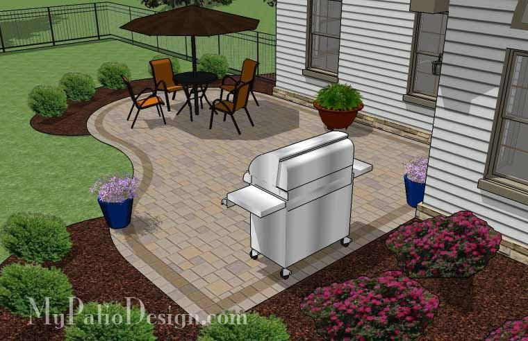 Start enjoying the outdoors in style with our Cheap Backyard Patio Design. Areas for large patio table and barbecue grill. Patio layouts and material list.