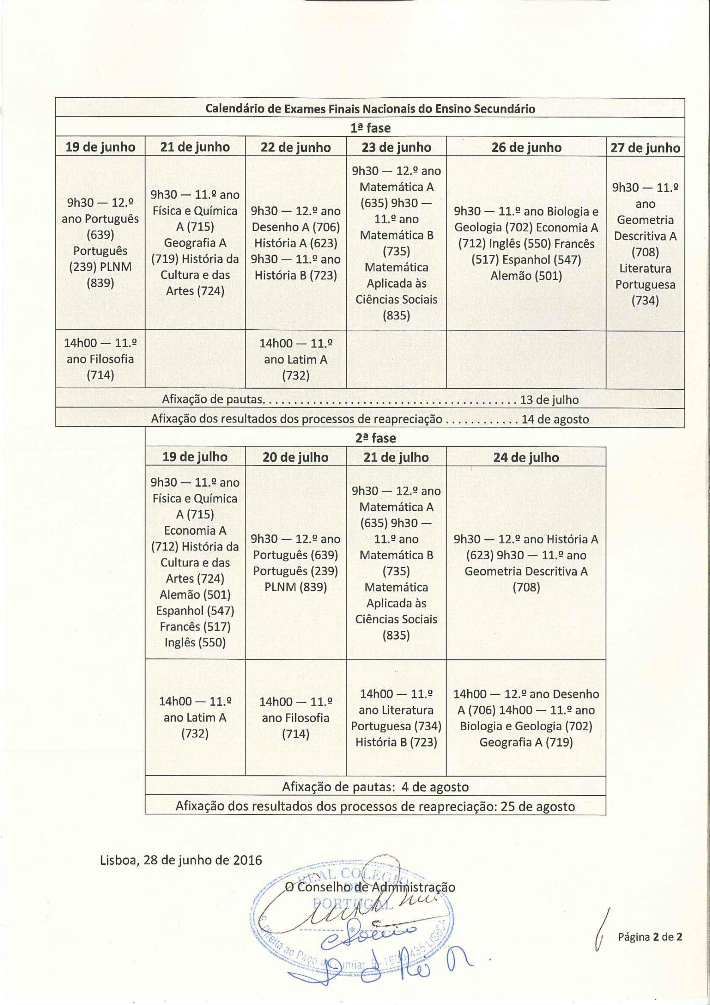 Calendário de Exames 16/17 - 2/2