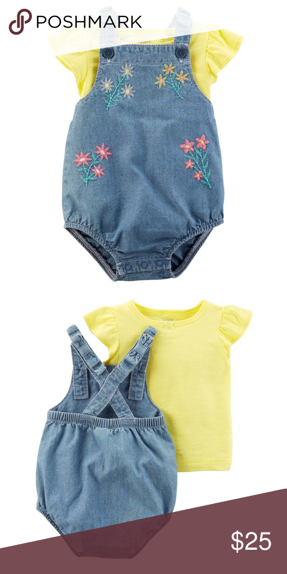 f0fe36d2886 Carters Baby Girl Tee   Bubble Romper Set Clothes 2-piece set Flutter  sleeves Real metal hardware Overall-style romper Embroidered flowers Fabric    Care ...