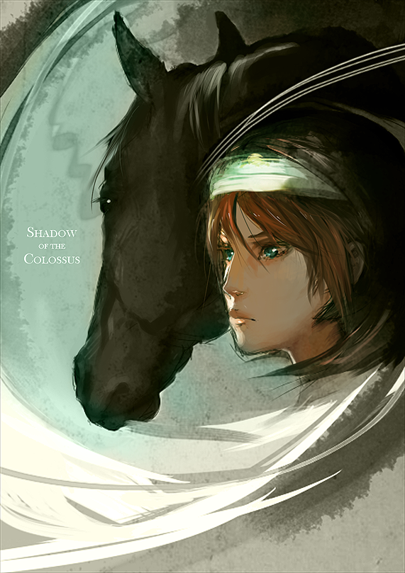 Shadow of the Colossus- Wander and Agro. I love this art ...