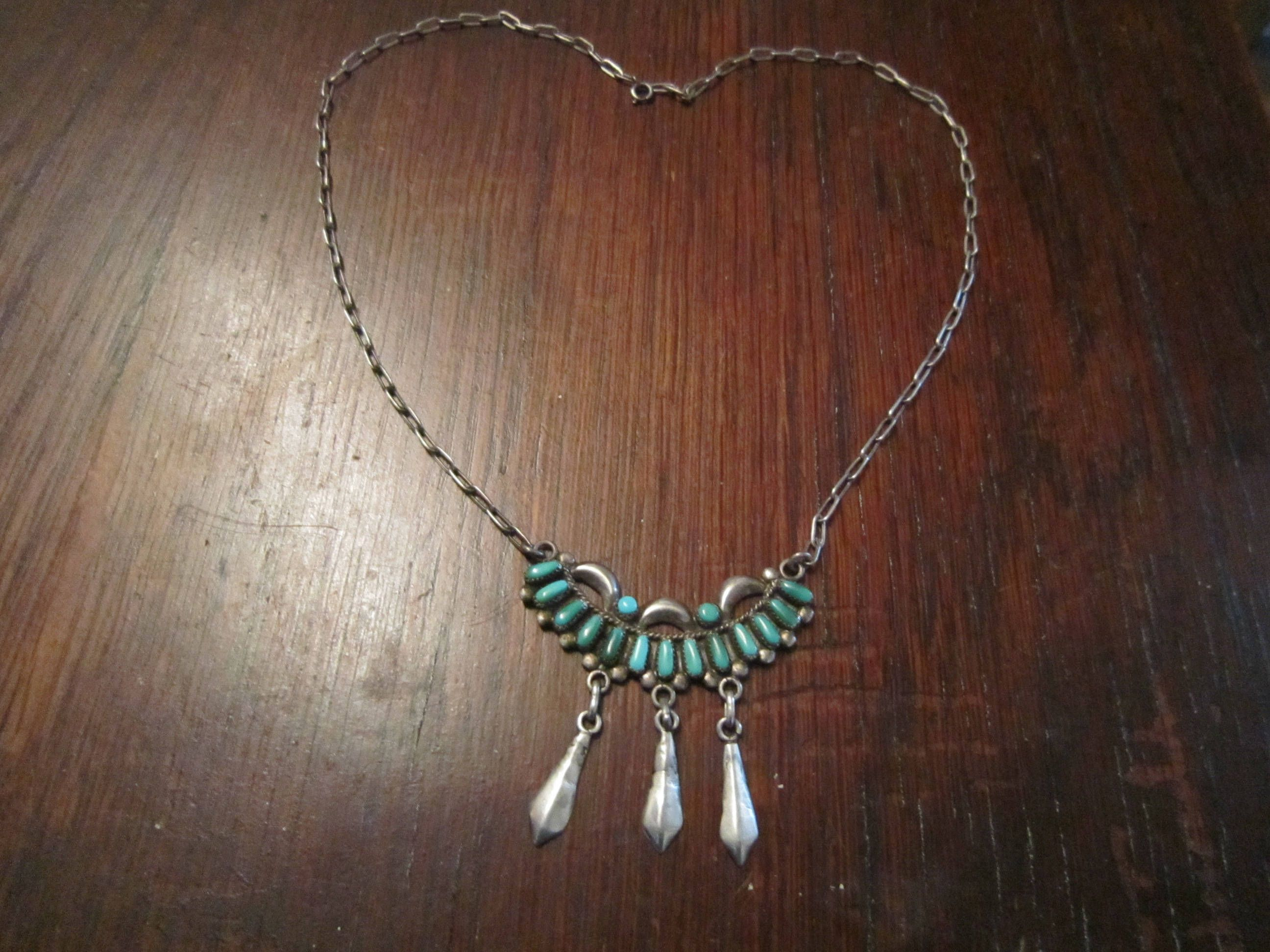 c ck listing silver flower turquoise and pendant k sterling zuni zoom inlay necklace fullxfull il