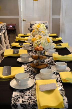 yellow black damask bling queen bee for a day baby shower table setting with damask runner & yellow black damask bling queen bee for a day baby shower table ...