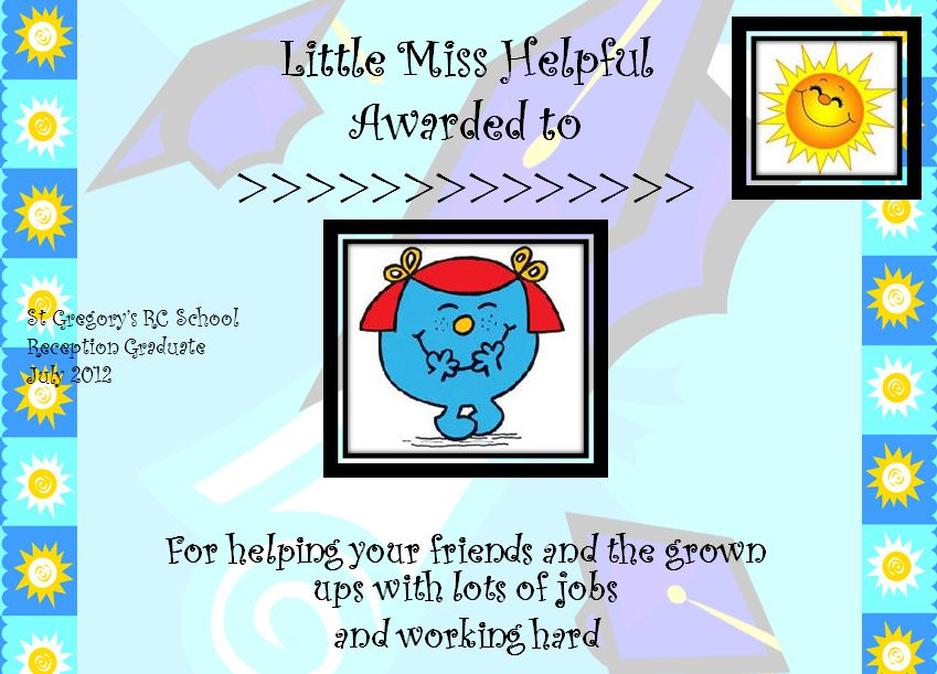 A Lovely Set Of Mr Men And Little Miss Certificates For Graduating