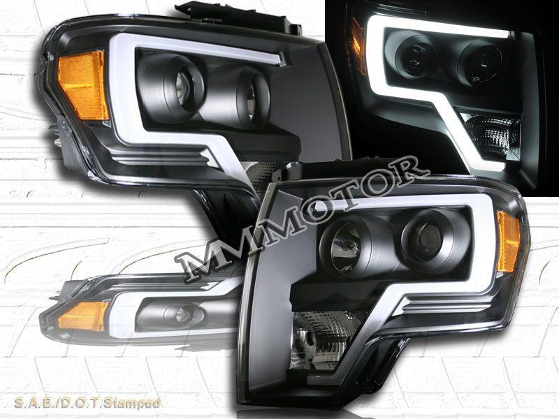 09 14 Ford F150 Black Housing Plank Style Projector Headlights W Led Strip Bar Ebay Ford F150 F150 Projector Headlights
