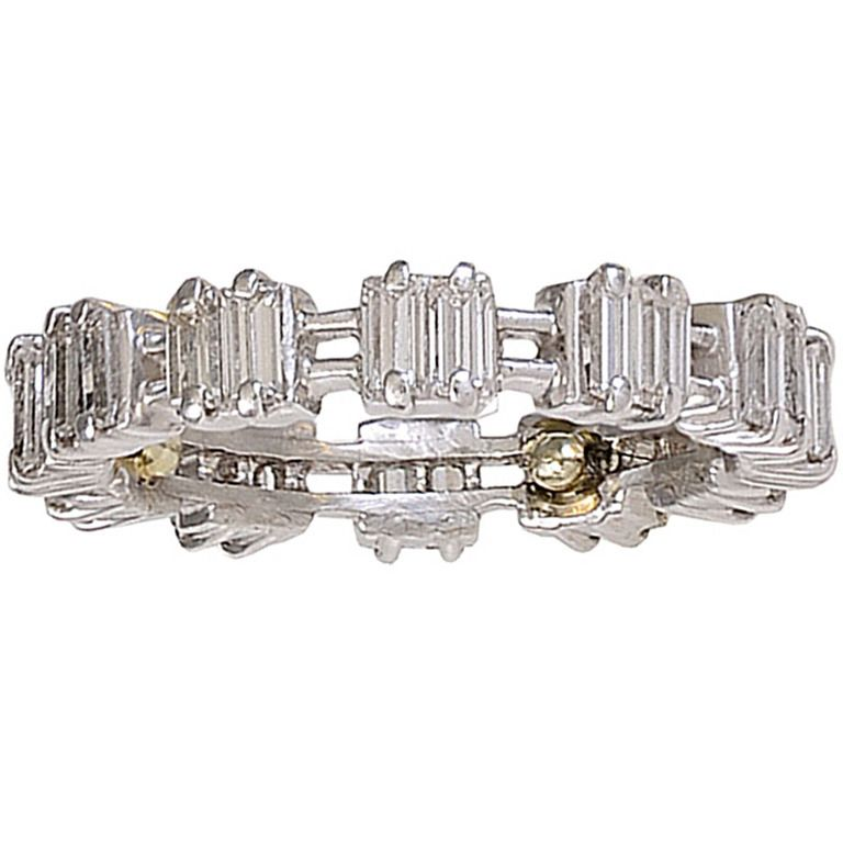 Platinum and Diamond Eternity Band | From a unique collection of vintage band rings at http://www.1stdibs.com/jewelry/rings/band-rings/
