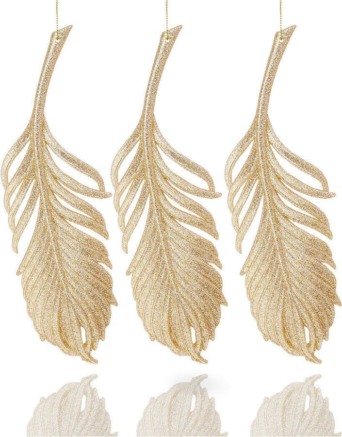 Holiday Lane Set of 3 Gold Glitter Feather Ornaments, Created For Macy's