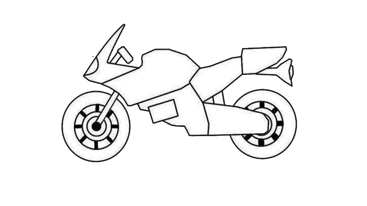 How To Draw A Motorcycle Easy Step By Step Step By Step Motorbike Drawing Easy Cartoon Drawings Bike Drawing Motorbike Drawing