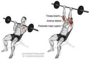 Incline reverse-grip barbell bench press exercise guide