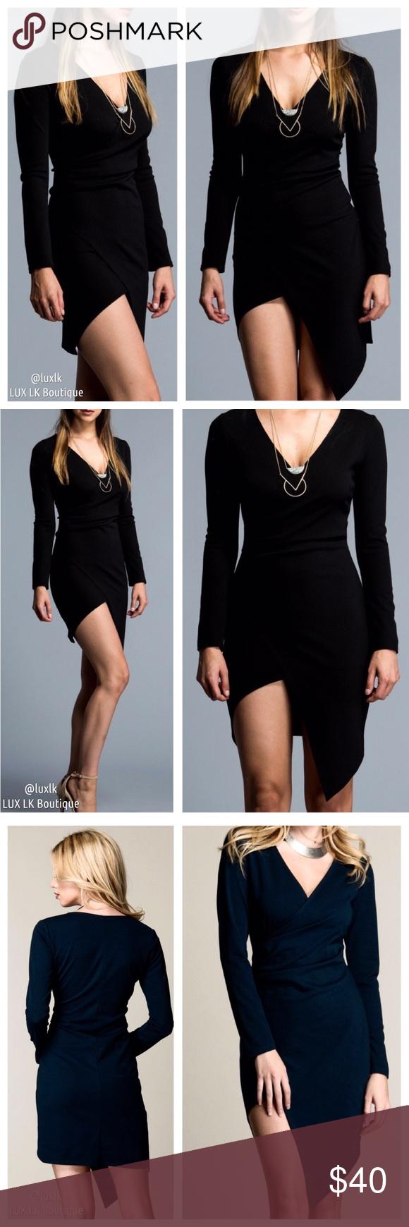 Last black crossover long sleeve wrap dress boutique my posh
