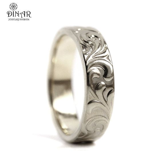 This Very Unique 14k White Gold Wedding Ring With Leaf Engravings Is Designed In A Nature Art Deco Wedding Ring Band Thick Wedding Bands Art Deco Wedding Rings