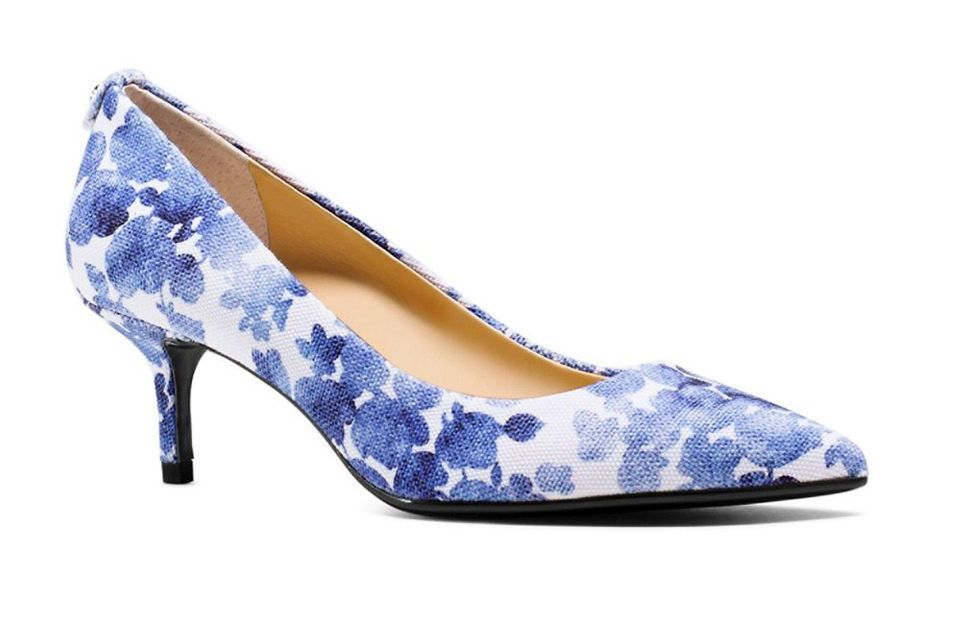 759a95624a8 Blue and white floral pattern on comfy kitten heels is an instant spring  wardrobe update. These heels are Michael Kors and available at select Lord    Taylor ...