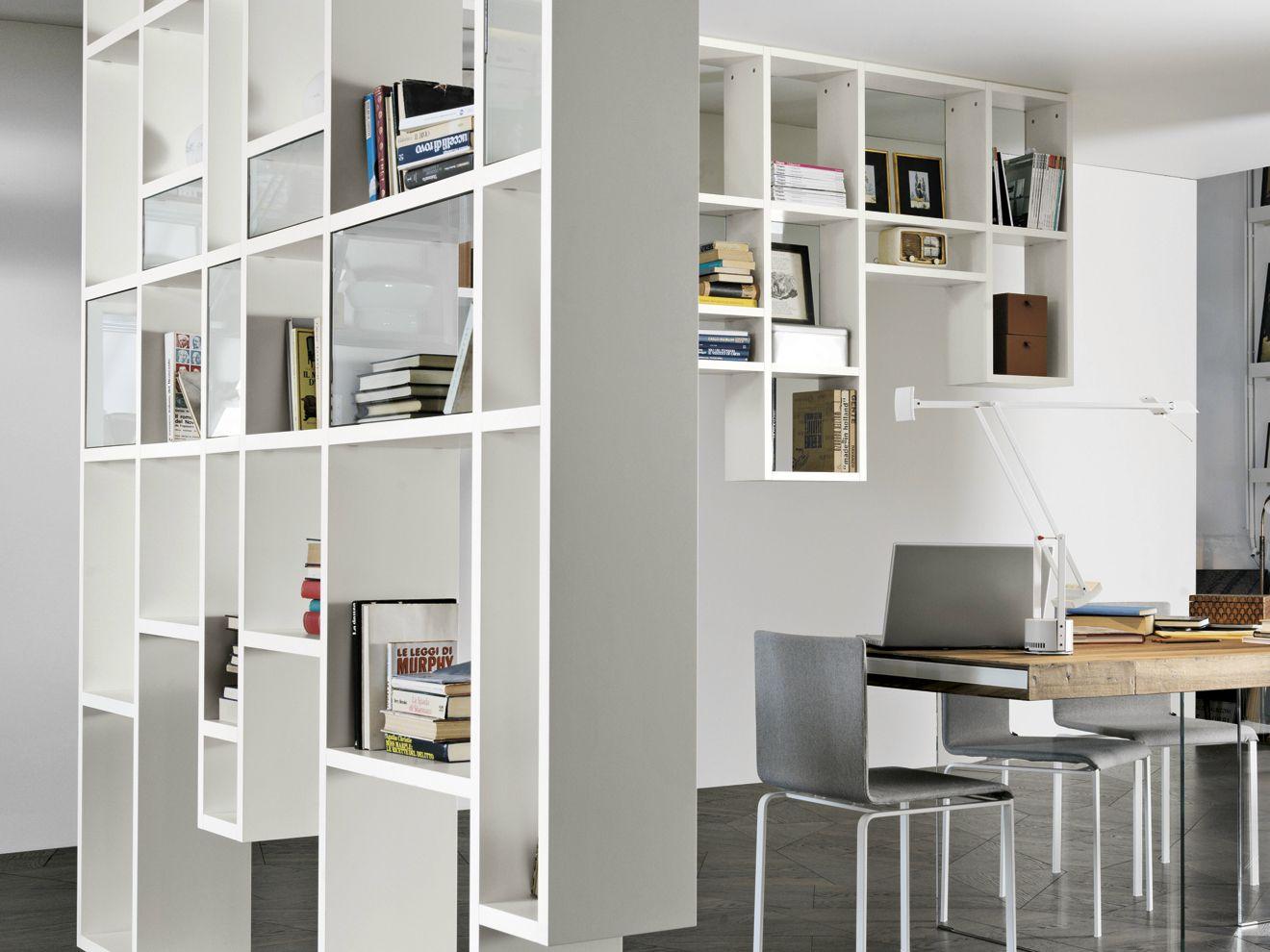 Parete attrezzata divisoria fissata a soffitto 30mm - Parete attrezzata per studio casa ...