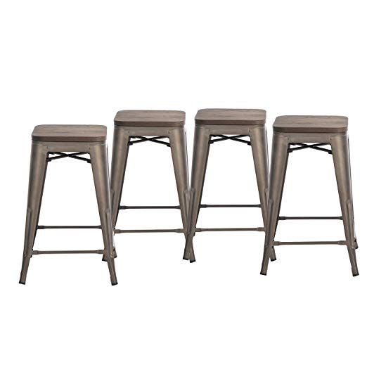 Remarkable 24 Inch Counter Height Bronze Metal Bar Stools With Wooden Ibusinesslaw Wood Chair Design Ideas Ibusinesslaworg