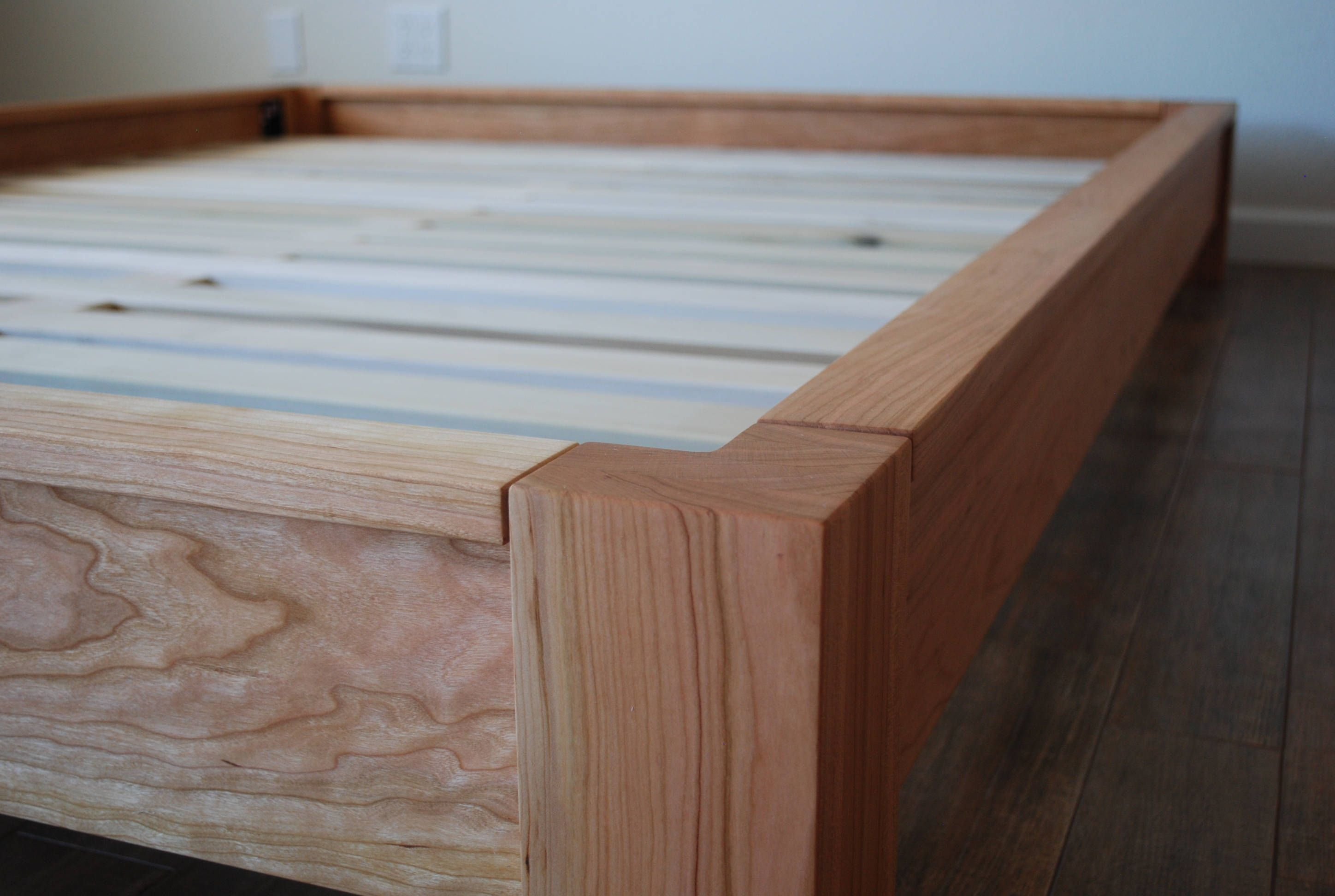 Lowprofile Platform Bed in Cherry, Simple Bed Frame