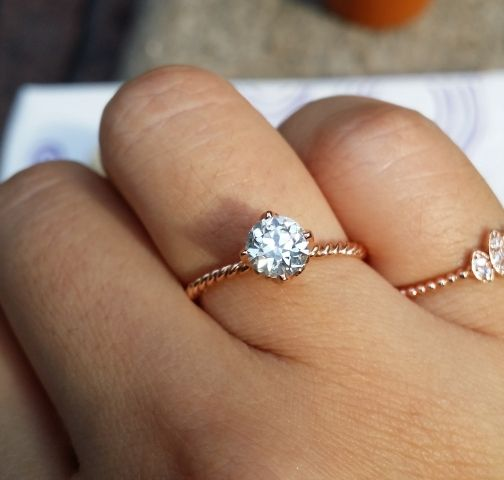 07 G SI2 AVR in 14k rose gold solitaire ring Rose Solitaire