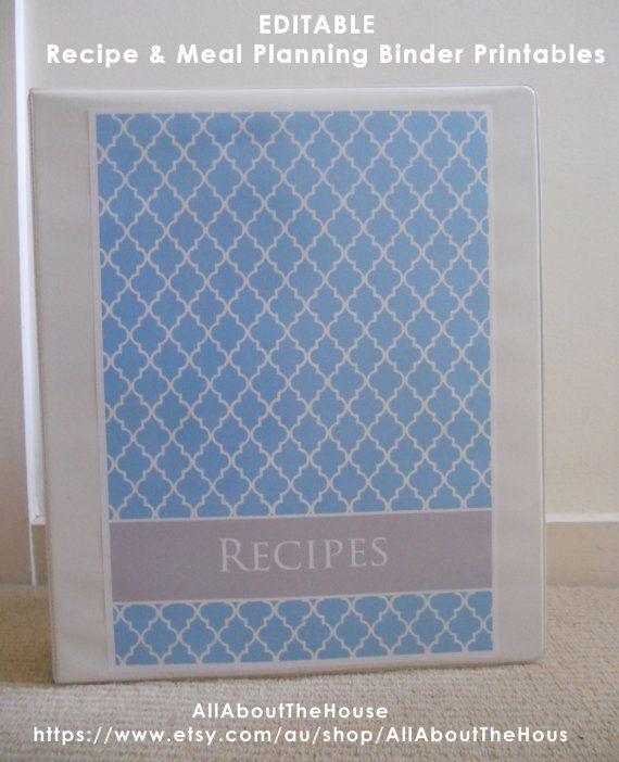 EDITABLE Recipe Binder Printables