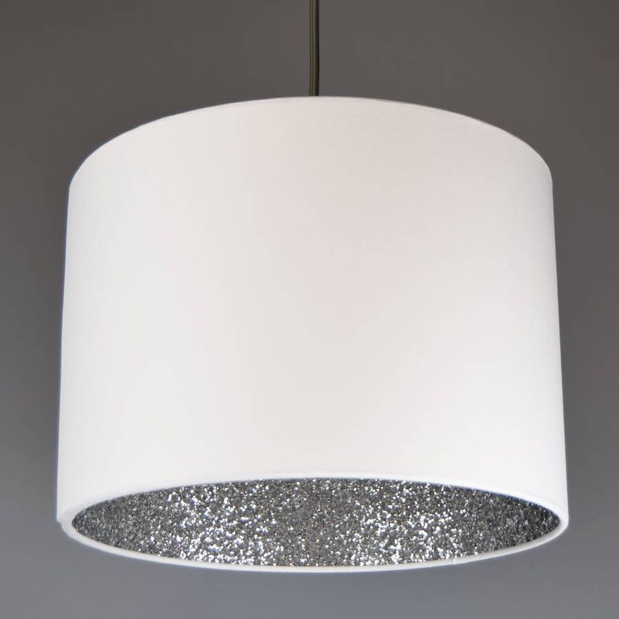Silver Lamp Shades Amazing Silver Glitter Sequin Lined Lampshade Choice Of Colours  Sequins Design Ideas