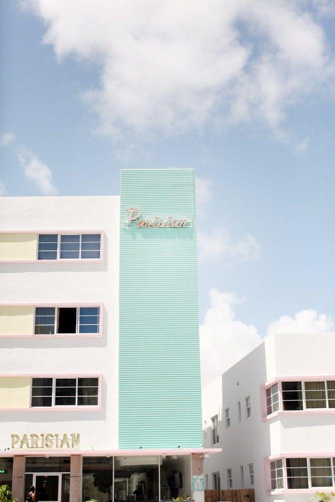 art deco architecture color scheme pastel palm trees pools