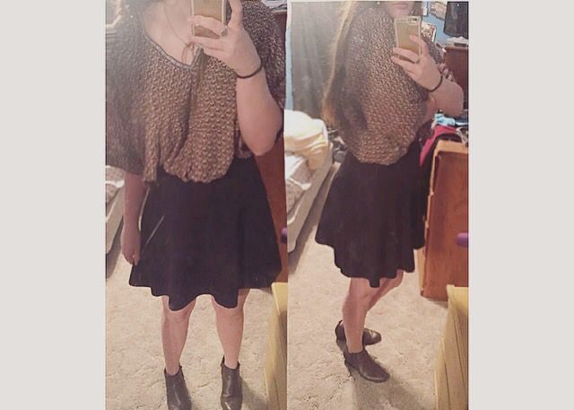 Boho shirt matched with a plain black skaters skirt and some booties