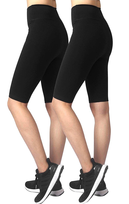 Womens Gym Fitness Yoga Shorts Cotton Half Pants - Black (2pack) - CV12HB22F4P - Sports & Fitness Cl...