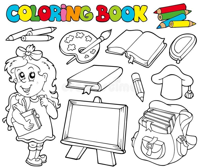 Coloring Book With School Theme 1 Illustration Sponsored Affiliate Sponsored Book Illustration Theme Color Coloring Books School Themes Doodling