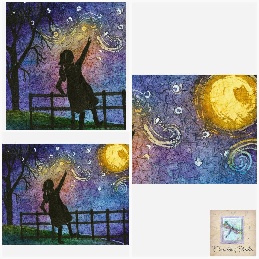 Watercolor Girl Metal Moon Wall Art Moon Art Van Gogh Starry