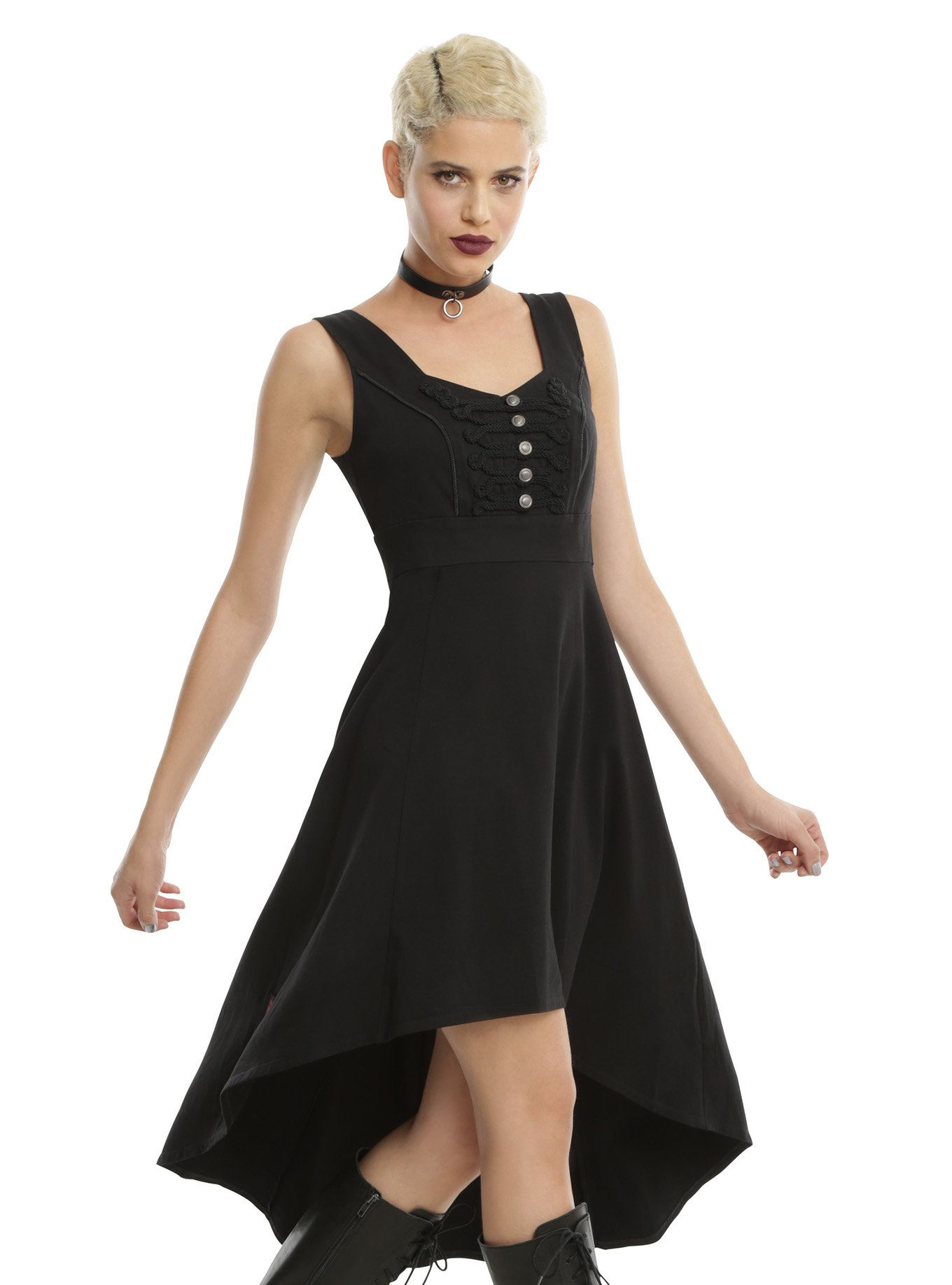 01b7e54b29  div Get a military look without being all buttoned up when you wear this  dress from Royal Bones by Tripp. The black dress has adjustable buckle  straps
