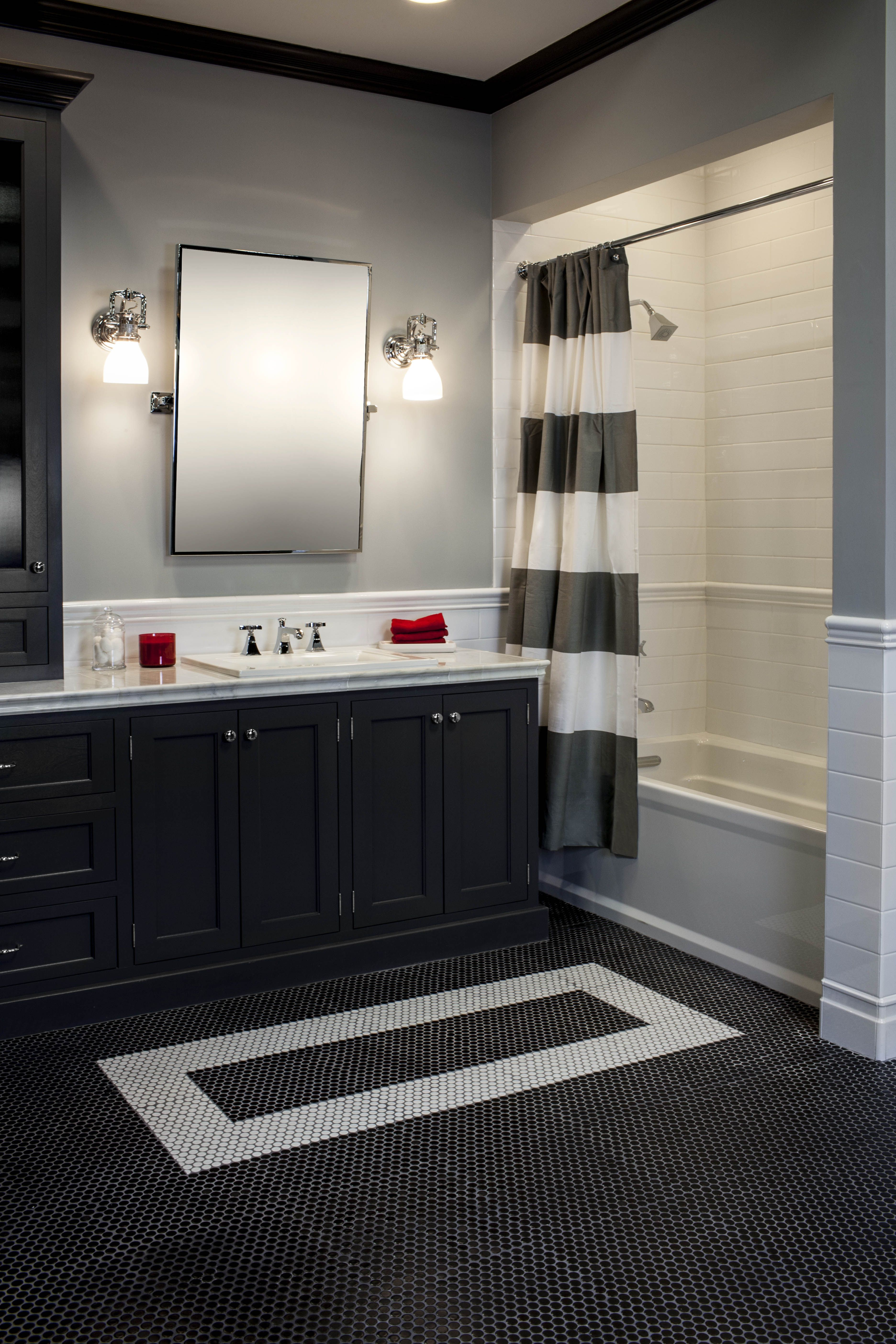 black white and silver bathroom ideas there s nothing more classic than a black white bathroom with subway tile and penny rounds 2421