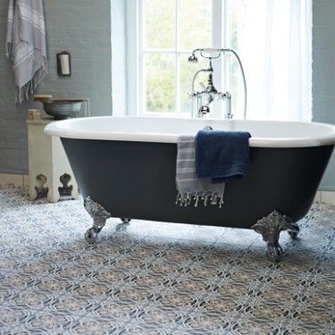 Flow bath with chrome feet Abbey porcelain tiles, per square metre, Fired  Earth (opens in a ...