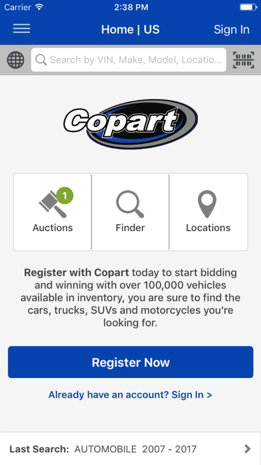 Car Auction Apps >> Copart Salvage Car Auctions Lifestyle Business Apps Ios