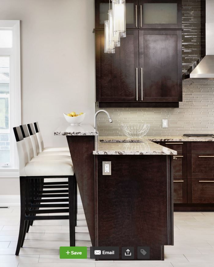 Kitchen Raised Peninsula Overhang With A Different Counter Top Material Transitional Kitchen Design Espresso Kitchen Cabinets Dark Kitchen Cabinets