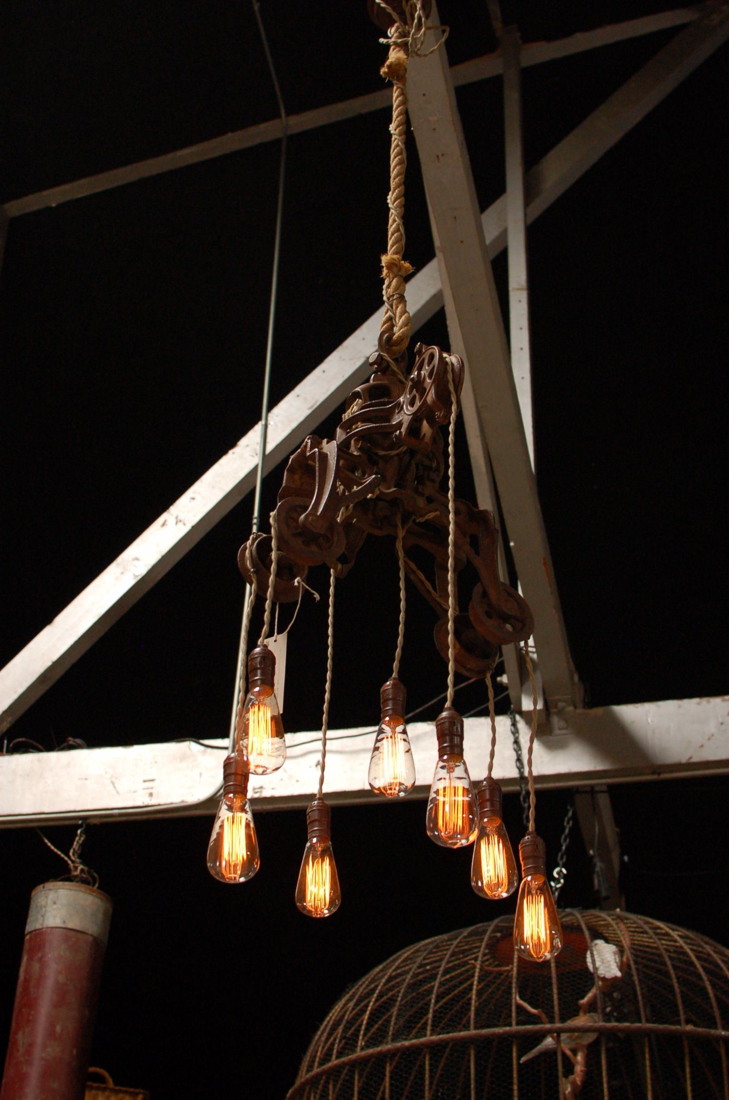 Big Daddy S Antiques Custom Light Fixture Using An Intricate Vintage Pulley System