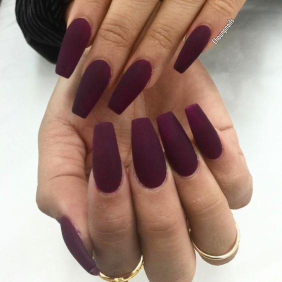 If You Want An Even Darker Color You Can Go With A Deep And Dark Purple The Great Thing About This Is That The Color Is Ve Wine Nails Purple Nails