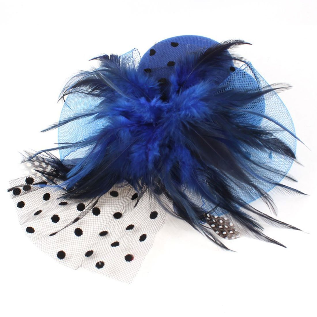 Ladies Blue Bowknot Feather Mesh Veil Hat Style Alligator Hair Clip