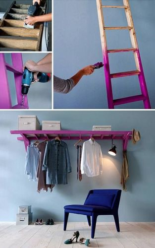 Repurposed or build it yourself ladder to use as wardrobe, studio apartment closet rack, retail display hanger, storage; attach to wall with brackets; Upcycle, Recycle, Salvage, diy, thrift, flea, repurpose, refashion! For vintage ideas and goods visit Estate Resale & ReDesign, FL