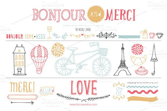 Bonjour (Clipart) by Small Made Goods on @creativemarket