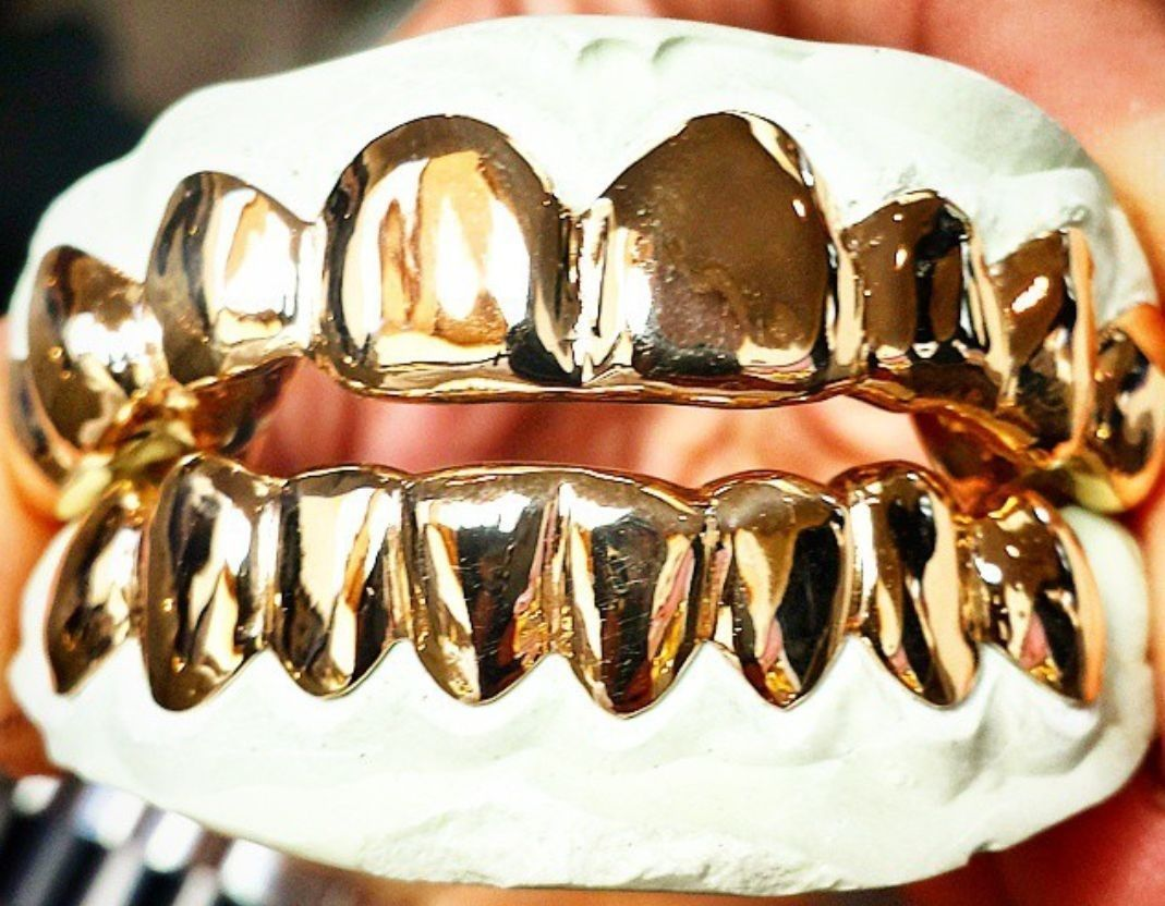 Custom Sterling Silver 14k Gold Plated Solid 6pc Top Bottom Slug Grillz Grill Gold Grillz Grillz Gold