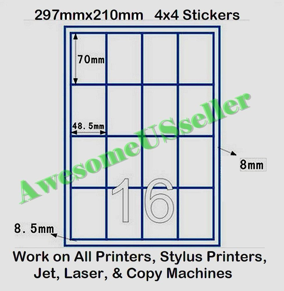 8 Per Sheet White Self Adhesive Blank A4 Printer Address Labels Matt Stickers