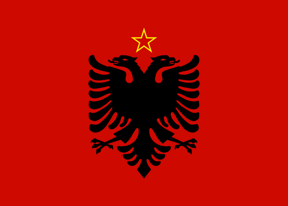 Flag Of Albania 1946 1992 Flag Of Albania Wikipedia Albania Flag Albanian Flag Kosovo Flag