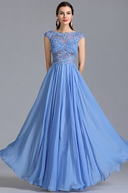 A Linie Kappe Ärmel Illusion Blau Abendkleid Formal Kleid (C36153105) - EUR 156,39
