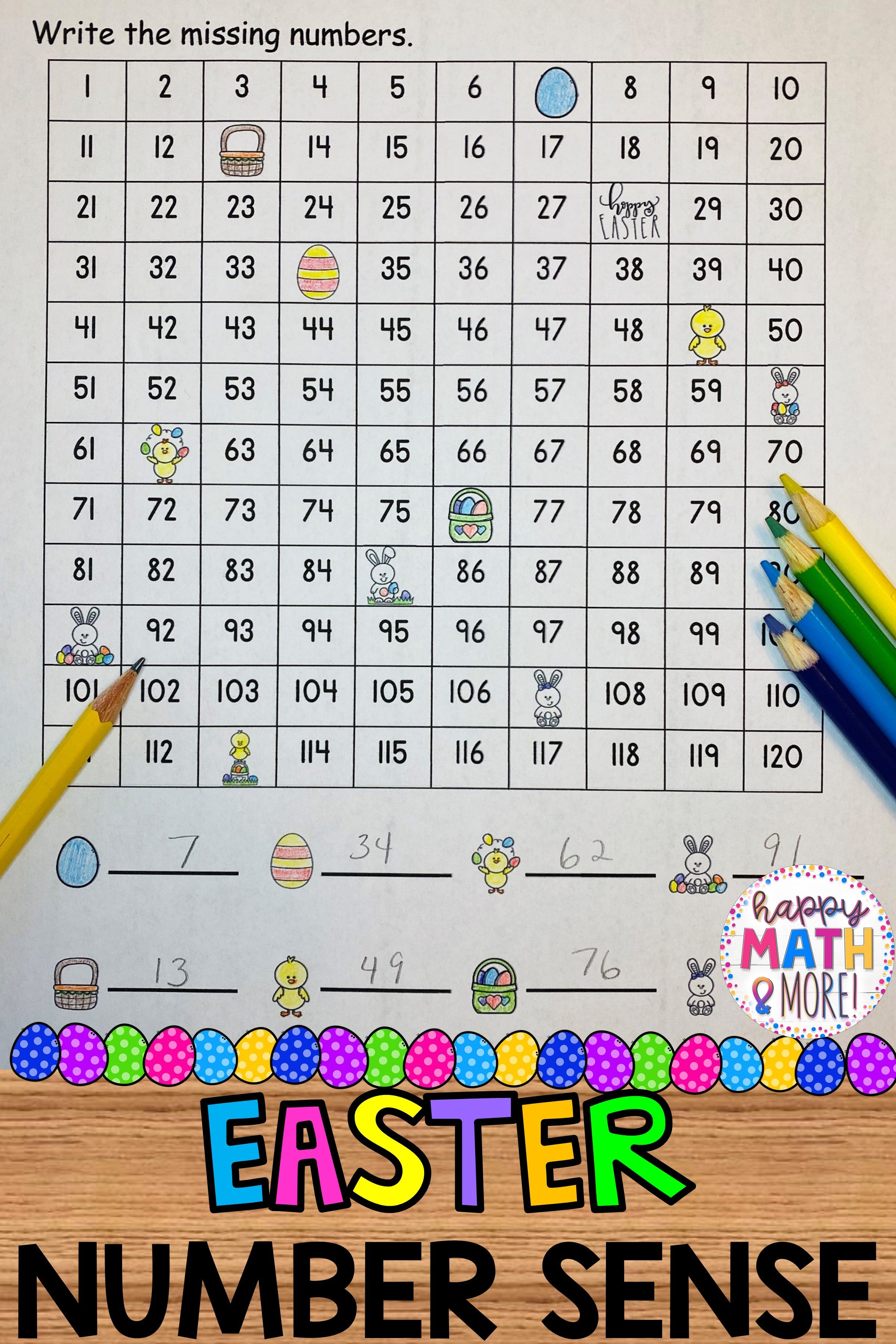 Easter 120 Charts With Missing Numbers Differentiated In