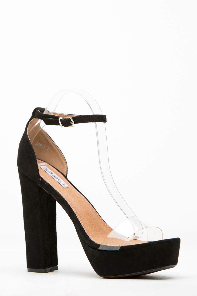 a389135afa4 Black Faux Suede Vinyl Platform Ankle Strap Heels   Cicihot Heel Shoes  online store sales Stiletto Heel Shoes
