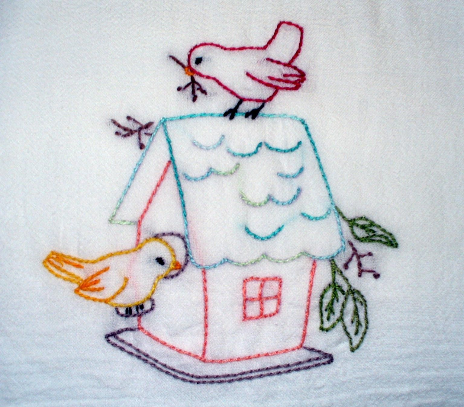Spring Time Birds Hand Embroidered Tea Towel. $13.00, via Etsy ...