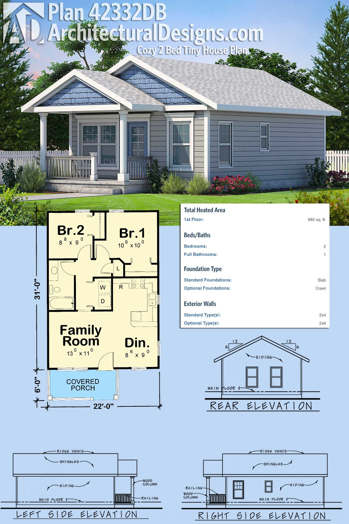 Plan 42332db Cozy 2 Bed Tiny House Plan Cabin Life In